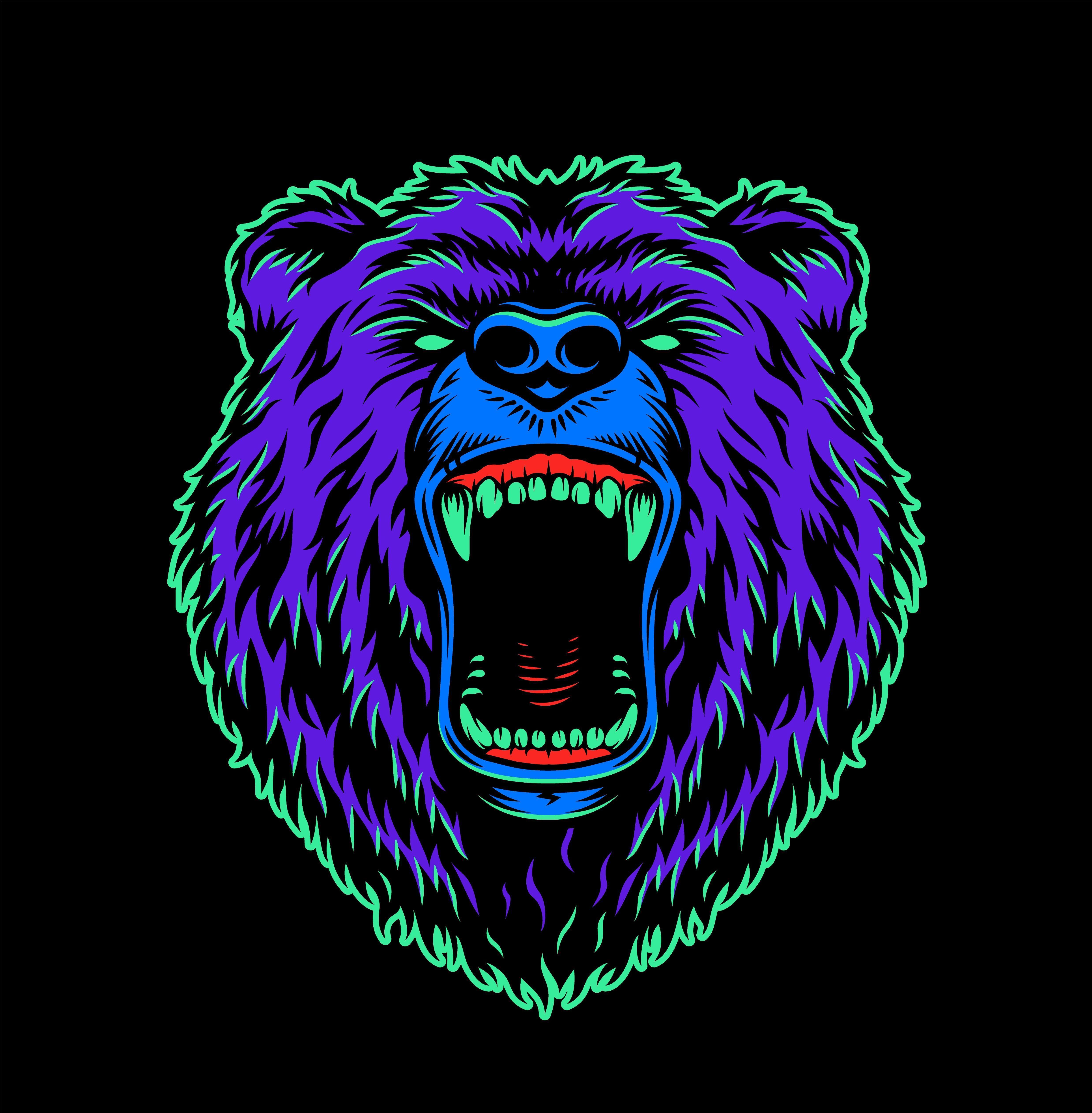 Vintage Cruel Animals Set In 2020 Bear Illustration Mascot Design Animal Heads