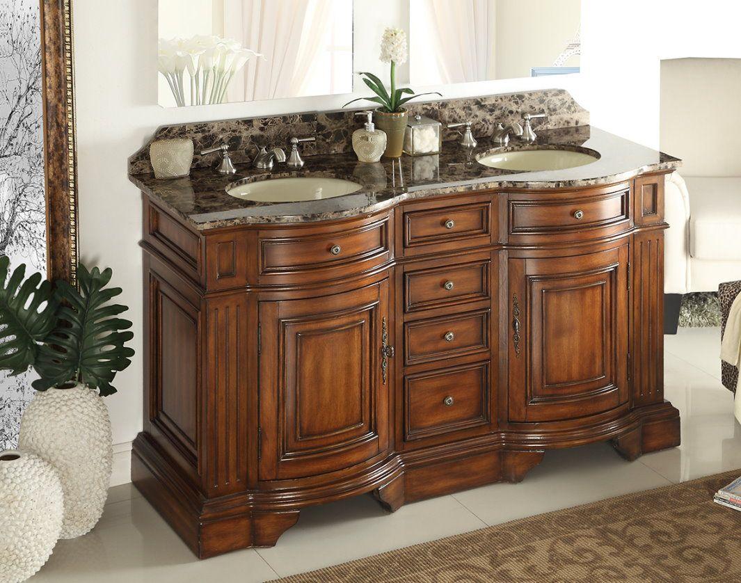 Adelina 60 inch Double Sink Bathroom Vanity Chestnut ...
