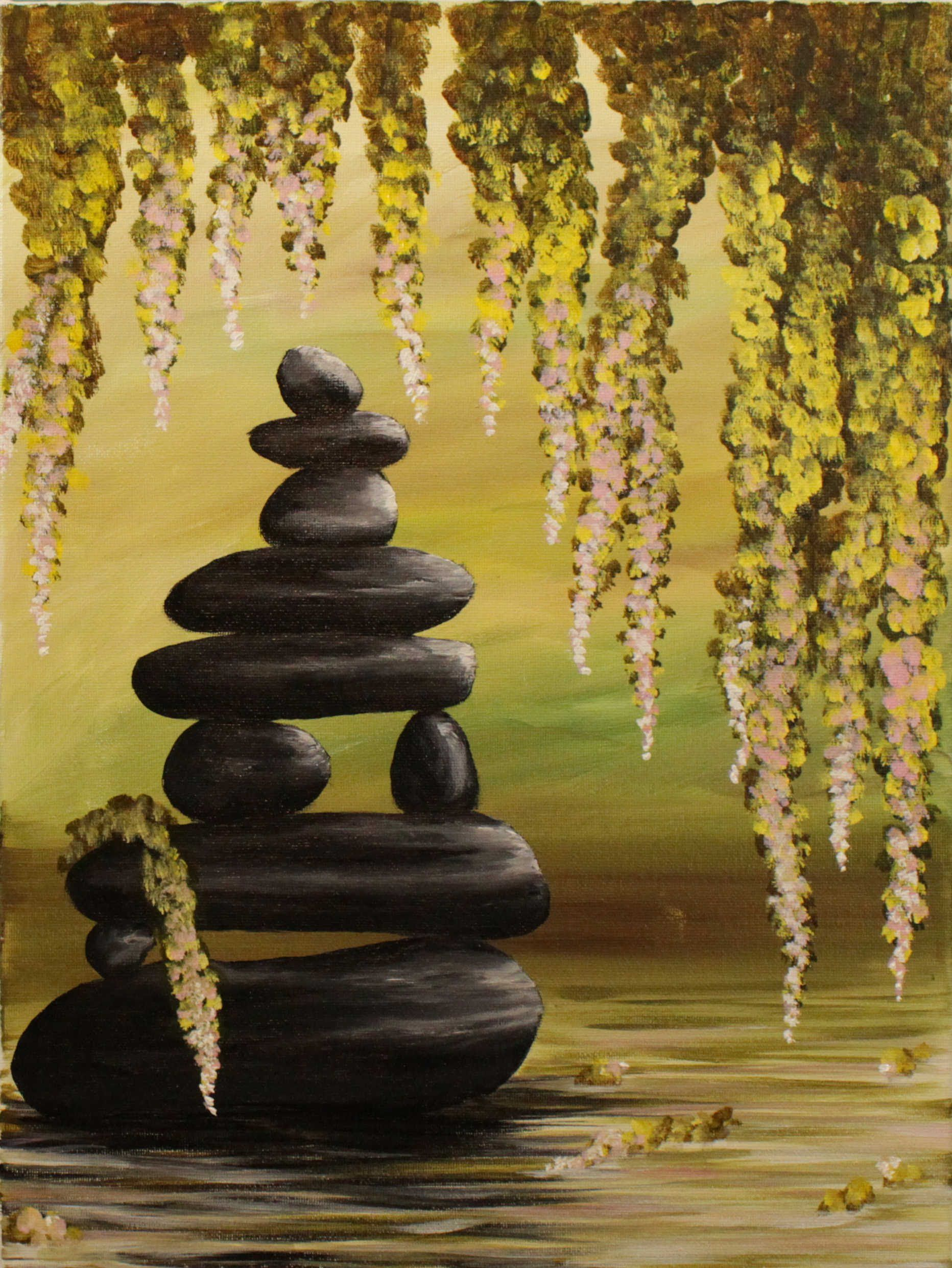 Zen Pond Step By Step Acrylic Painting On Canvas For