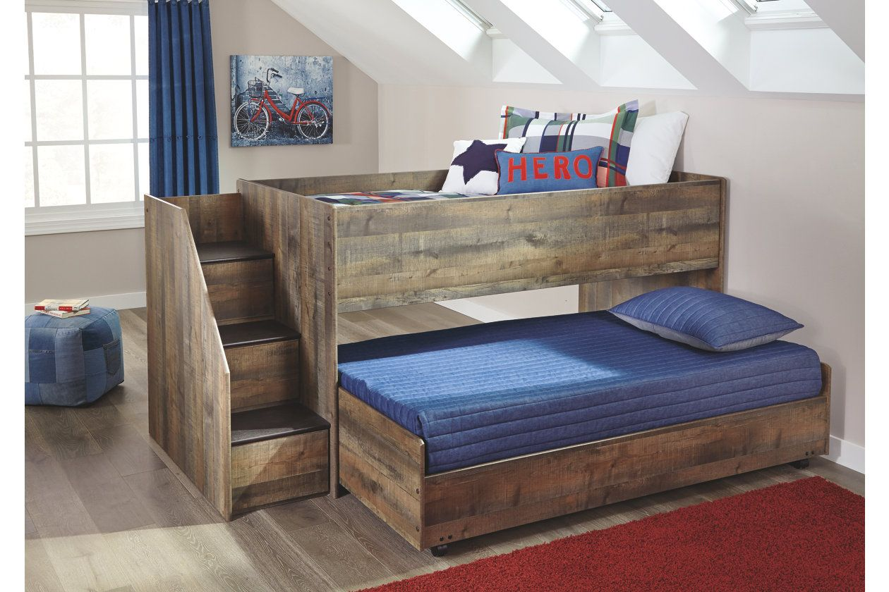 Trinell Twin Loft Bed With Pull Out Caster Bed Ashley Furniture Homestore Twin Loft Bed Low