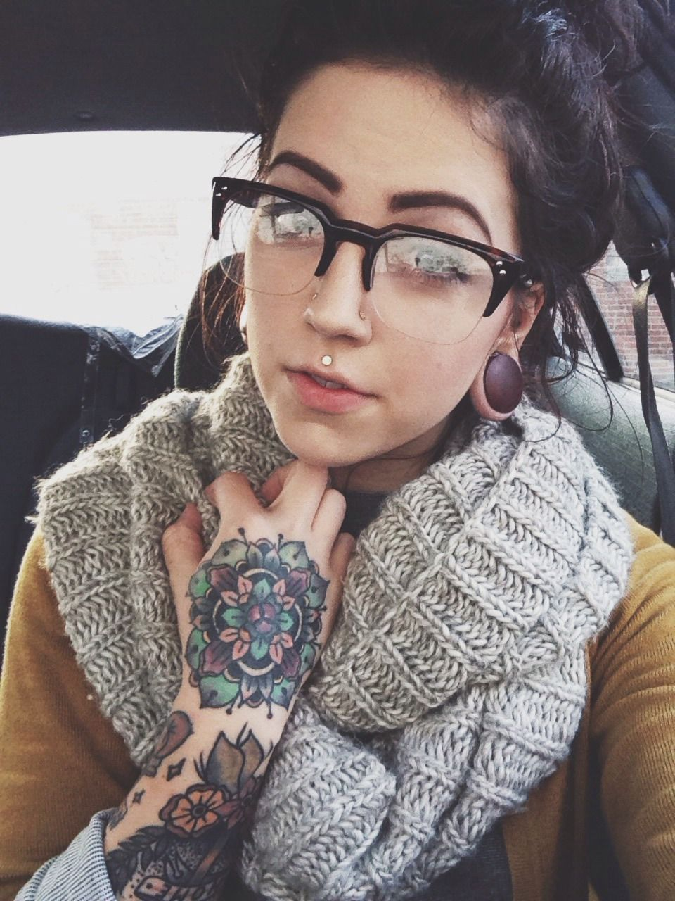 Double nose piercing plus septum  this makes me need to get my mandala tattoo coloured loveeee