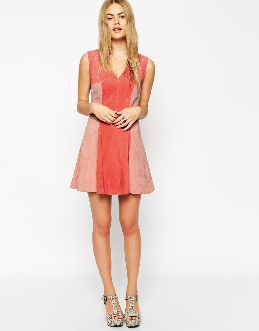Image of asos skater dress in suede color block what i like