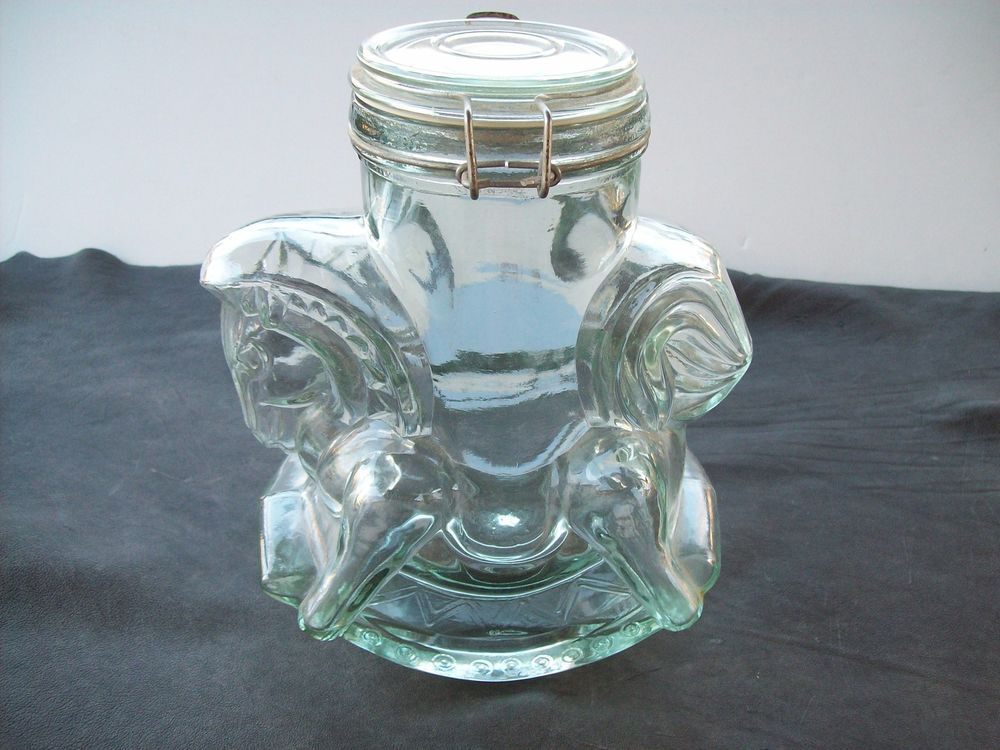 Antique/Vintage CLEAR Glass CAROUSEL HORSE COOKIE JAR CANISTER  W/BAIL LID  #UNKNOWN
