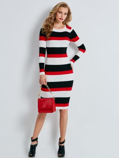 2226e4c6921f5 Color Block Stripe Slim Women's Sweater Dress   VIXfashion   Vix ...