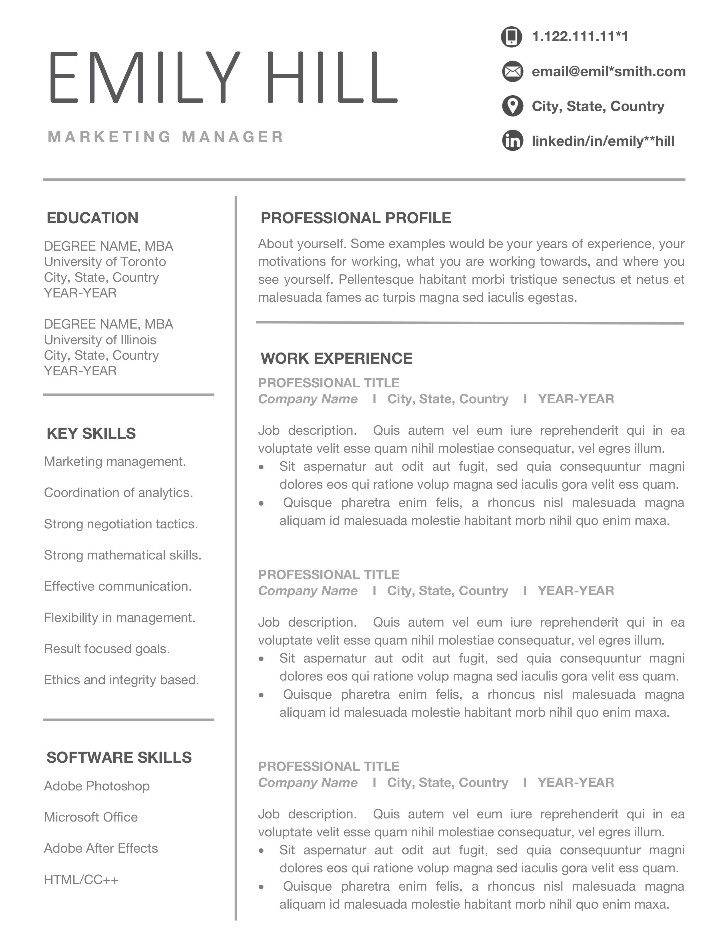 Simple Resume Template for Word & Pages, Editable CV