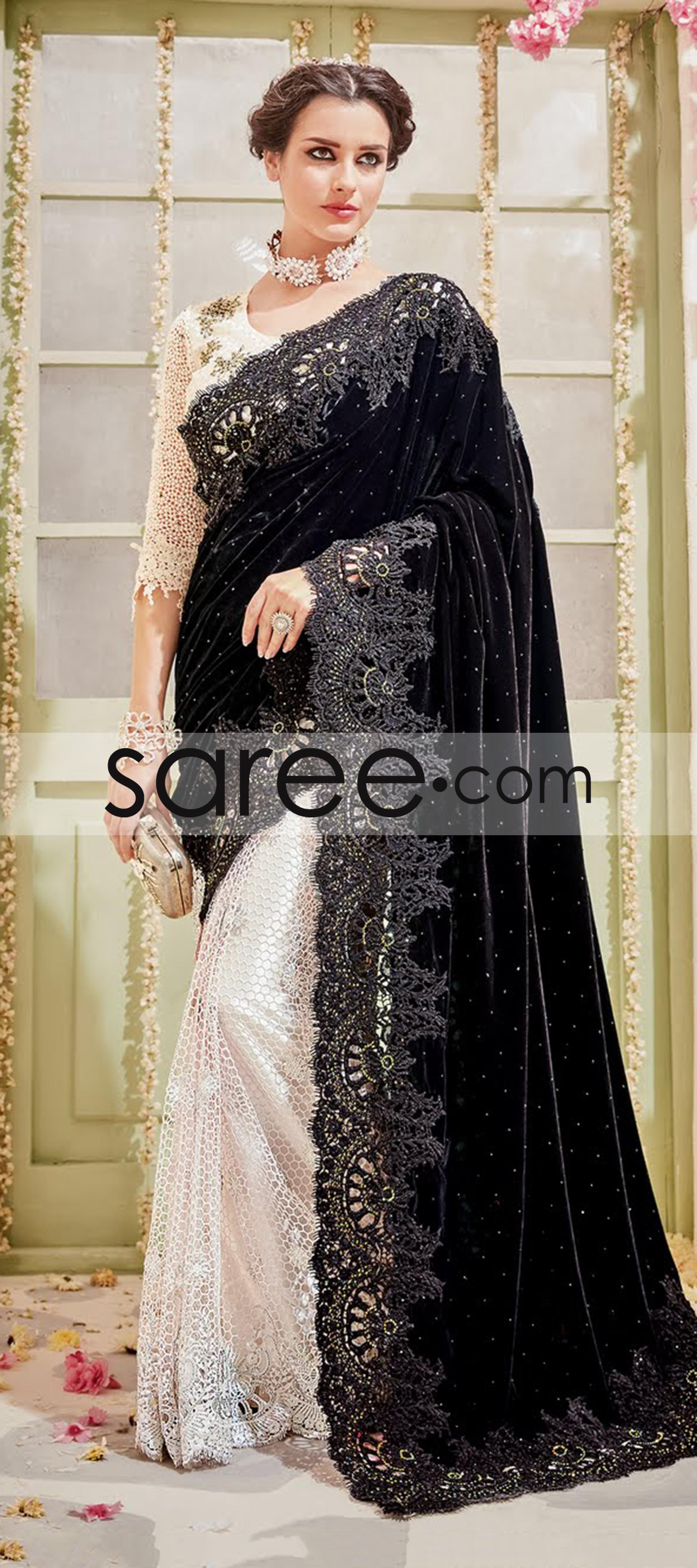 Black and White Net and Velvet Saree with CutWork Lace  Velvet