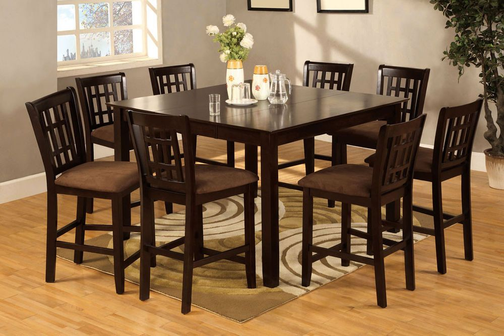 Eleanor Espresso 7 Or 9 Pieces Counter Height Table Set With Leaf Counter Height Dining Table Dining Room Sets Dining Table Setting