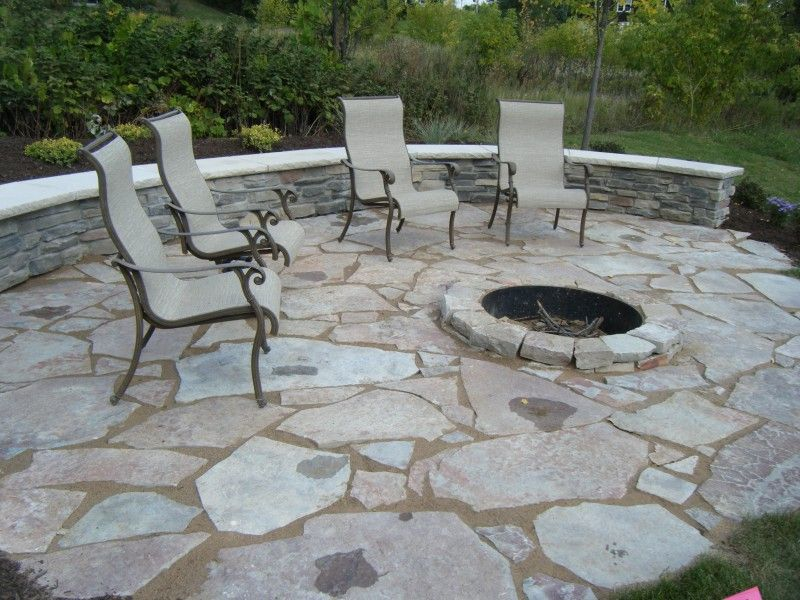 Patio With Fire Pit And Flagstone Pathway Limestone Outside Fire Pit