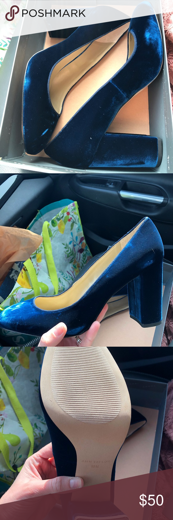 ca18b8b23aa NIB Ann Taylor Emeline Velvet Block Heel Pumps 10 Beautiful blue velvet Ann  Taylor pumps