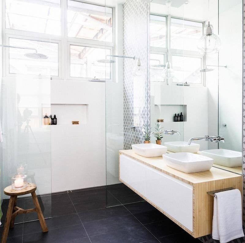 Décoration Salle De Bain Zen Plante Verte Pot Meuble Vasque Bois - Plante verte pour salle de bain