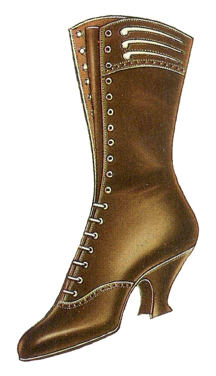 Boots fashion pic boots clip art - Antique Images Free Shoe Clip Art Vintage 1917 Women S Shoe Fashion Brown Lace Up