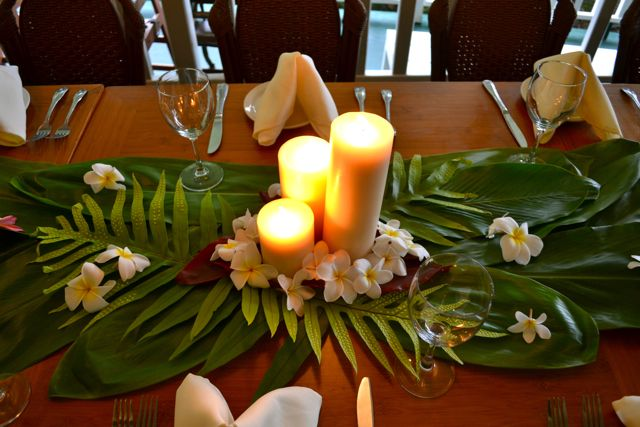 Hawaiian reception Wedding Pinterest Tropical centerpieces