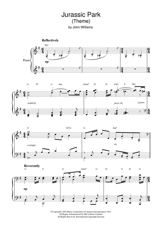 jurassic park flute sheet music