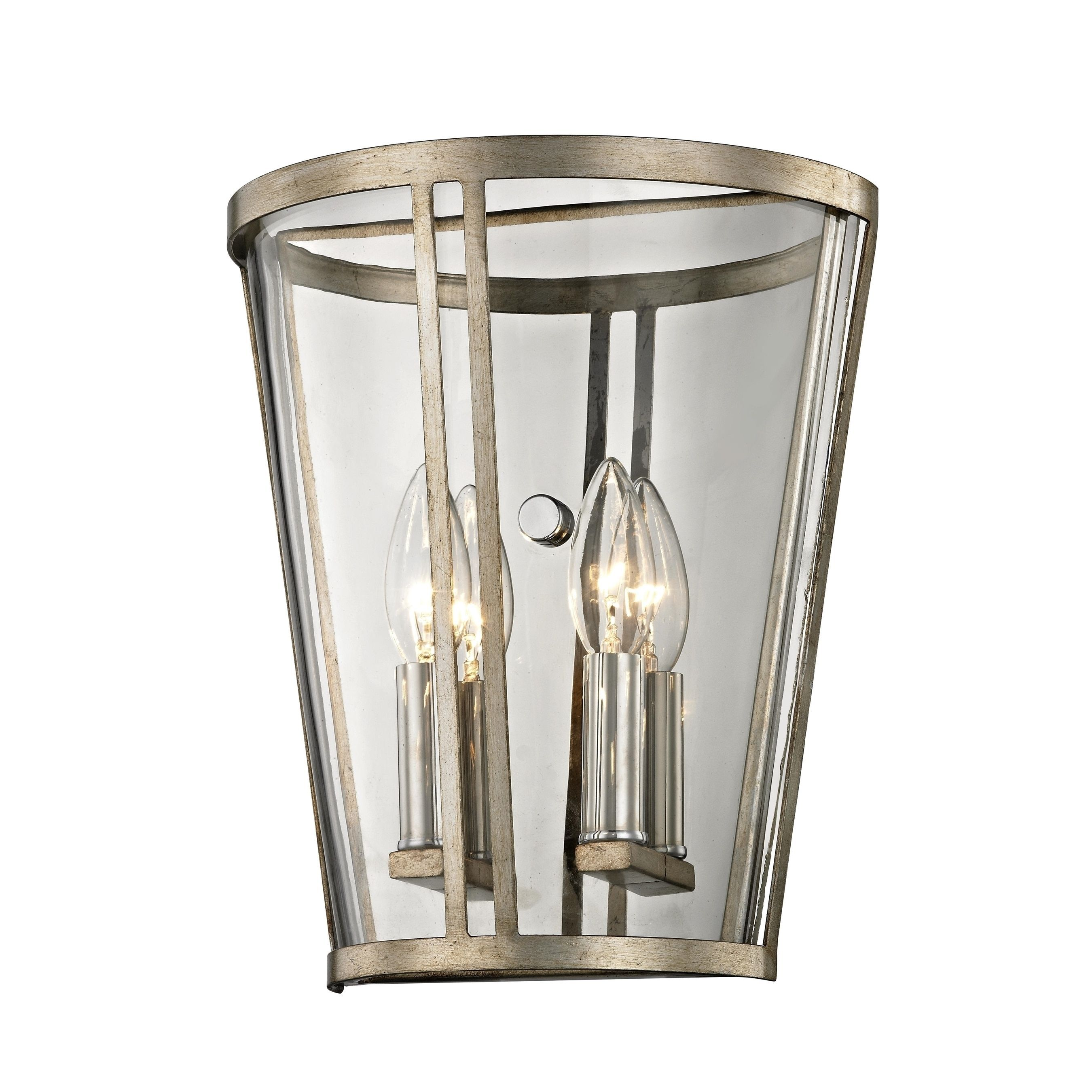 Troy Lighting Trapeze 2 light Champagne Silver Leaf Wall Sconce