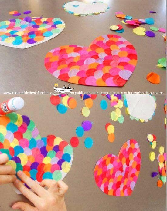 corazones de confeti trabajos manuales Pinterest Manualidades - trabajos manuales
