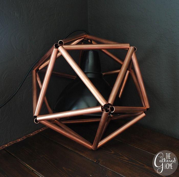 Otra propuesta DIY / Hazlo Tú Mismo con tubos de cobre: una original lámpara con forma de icosaedro. #DIYconCobre