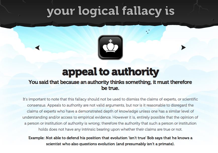 Image result for authority fallacy