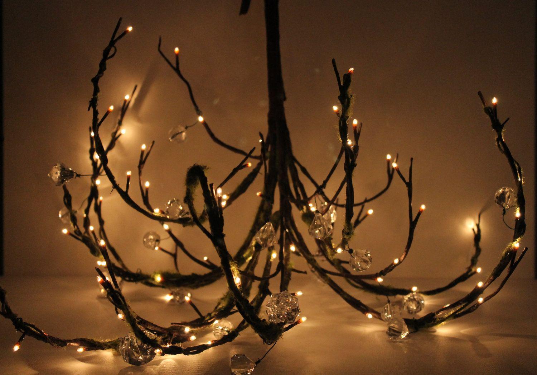 Mossy Woodland Tree Branch Twig Wedding Chandelier - Plug In ...