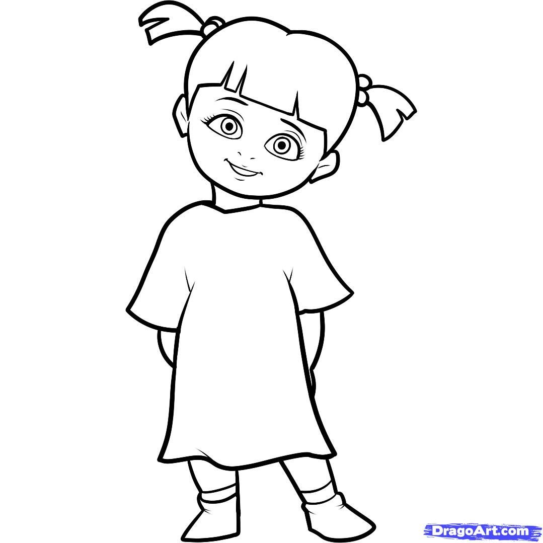 Monsters Inc Characters Coloring Pages | How to Draw Boo, Boo ...