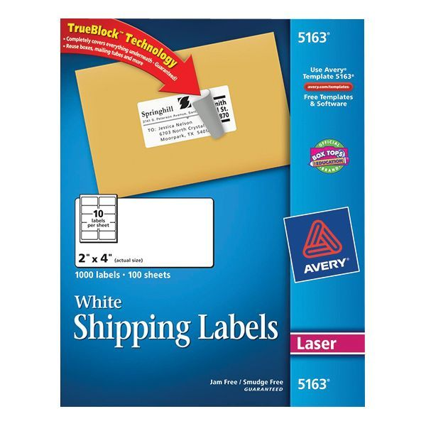 Avery Laser Shipping Labels With Trueblock 2 X 4 White 1 000 Box 5163 At Staples Avery Shipping Labels Avery Labels Label Templates