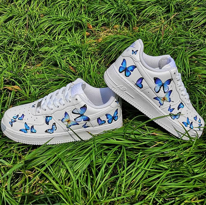 Custom Nike Air Force 1s With Various Blue Butterflies in