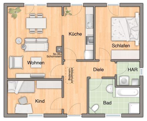 fertighaus der bungalow 78 hausansicht grundriss ideen rund ums haus bungalow building a. Black Bedroom Furniture Sets. Home Design Ideas
