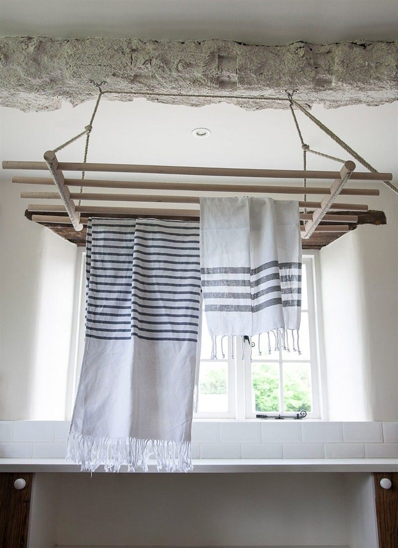 We love this wonderfully utilitarian product!  It's completely practical and fully adjustable so that it fits the size of any room.  The Chilton Ceiling Dryer comes with stainless steel ceiling fittings and can be highered and lowered using the ropes.