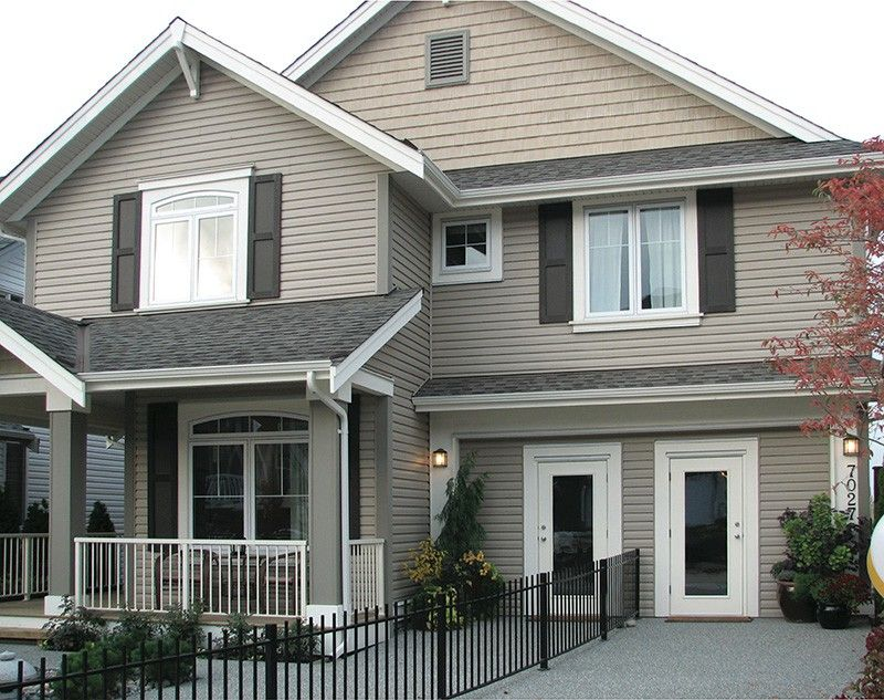 Kaycan Vinyl Siding Stonecrest Siding With Prestige Beige Shakes Black Shutters And White Trim House Paint Exterior House Exterior Siding Colors For Houses