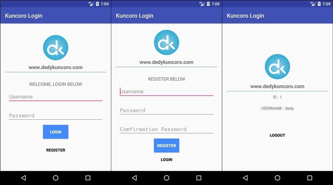 Tutorial Membuat Aplikasi Android Login Dan Register Menggunakan Database Mysql Android Studio Dilengkapi Dengan Webservice D Aplikasi Android Aplikasi Android