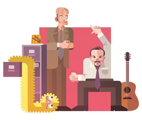 David Brent and Gareth Keenan from The Office UK for Bottleneck Gallery.