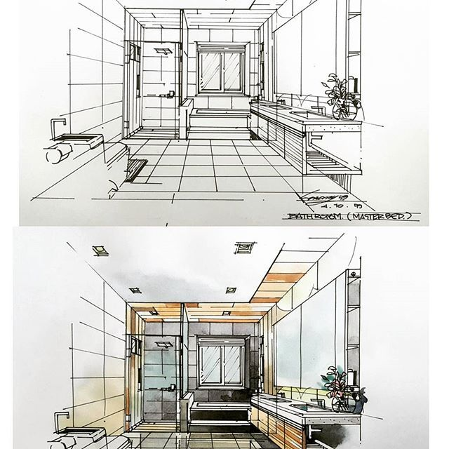 bathroom #interiordesign | Interior design sketches ...