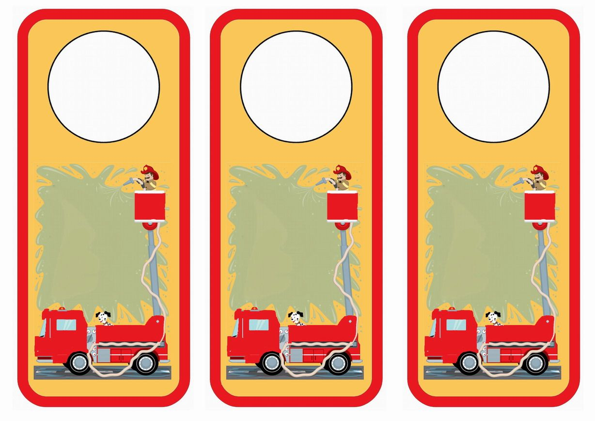 Firefighters Themed Free Printable Door Hangers Themed Door Hangers