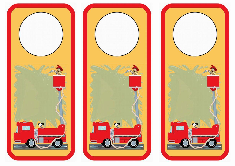 Firefighters Themed Free Printable Door Hangers Themed Door Hangers