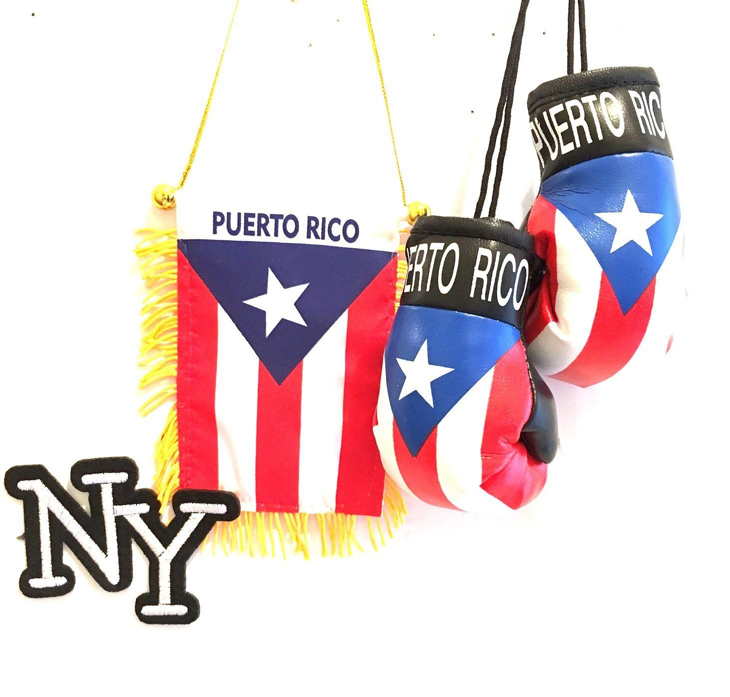 key Chain Puerto Rico Mini Boxing Gloves And Puerto Rico Lanyard