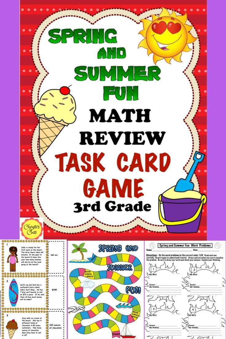 End of the Year Math Review Game Spring and Summer