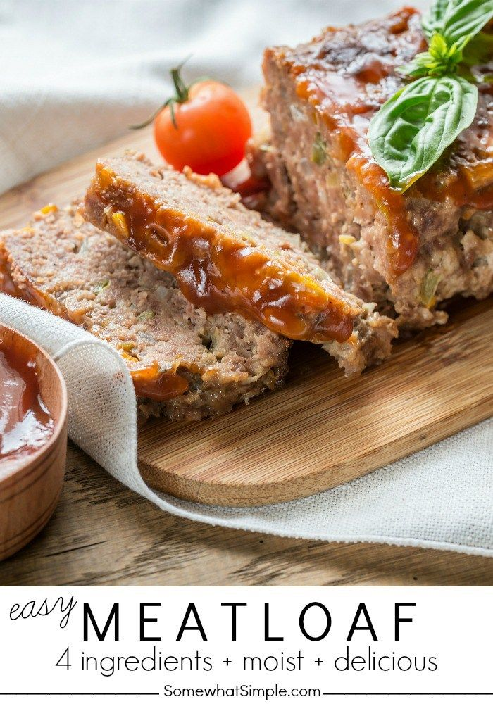 Four Ingredient Easy Meatloaf Recipe Somewhat Simple Recipe Easy Meatloaf Meat Loaf Recipe Easy Recipes