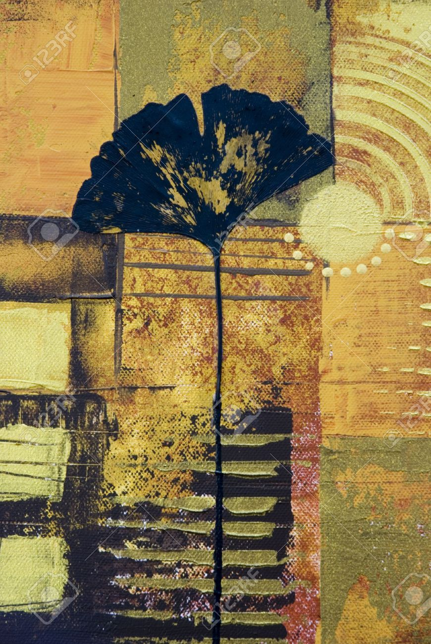 abstract artwork collage with ginkgo leaf, artwork is created and ...