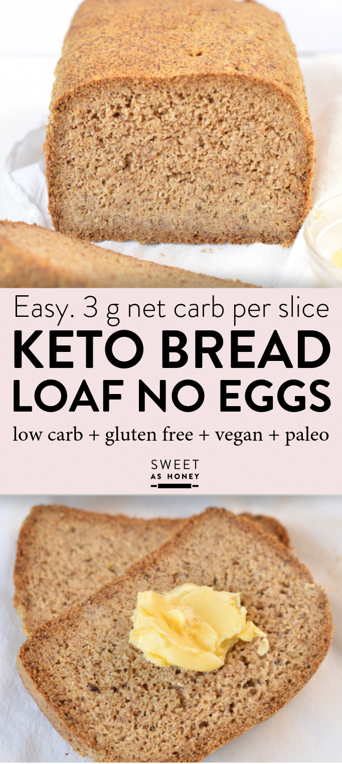 Keto bread loaf No Eggs, Low Carb with coconut flour, almond meal, psyllium husk and flaxmeal. A delicious easy keto sandwich bread with only 2.6 g net carb per slice to fix your sandwich craving with no guilt!