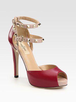 Valentino Two-Tone Rockstud Leather Platform Sandals