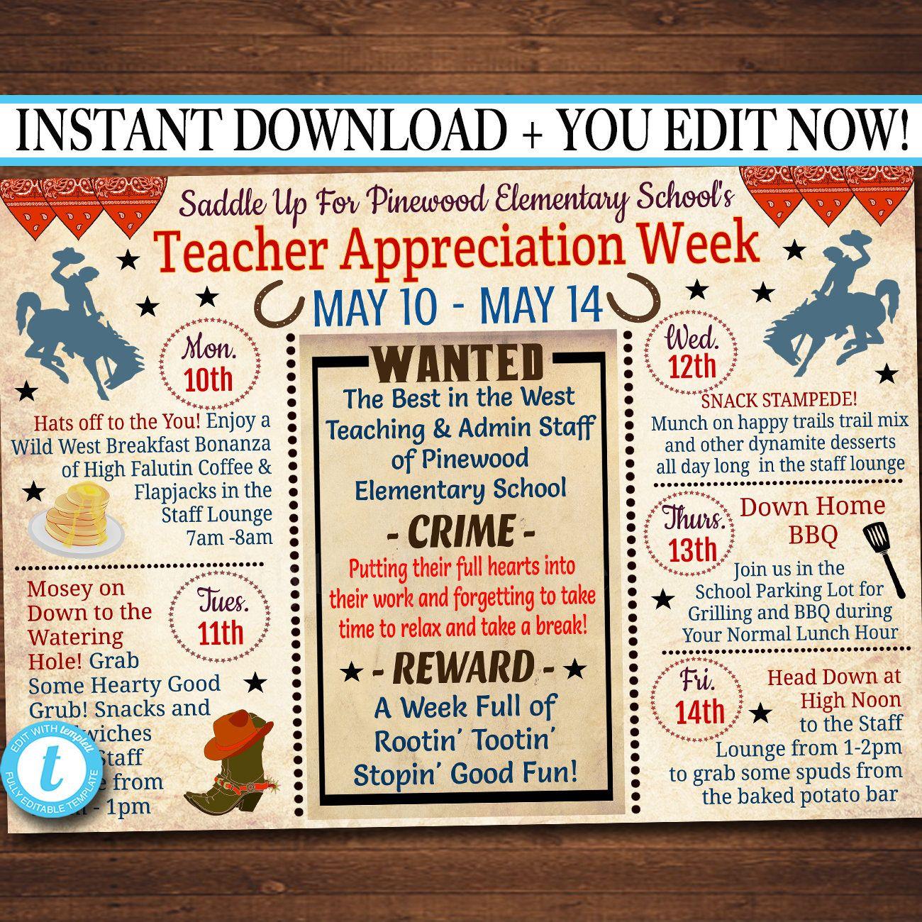 Editable Western Themed Teacher Appreciation Week