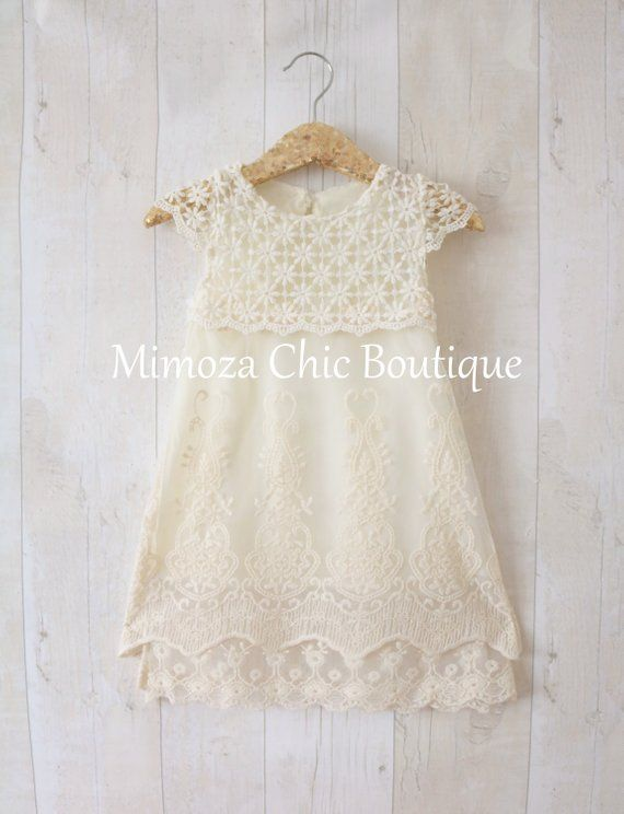 Rustic Flower Girl Dress Girl Lace Dress Country Lace