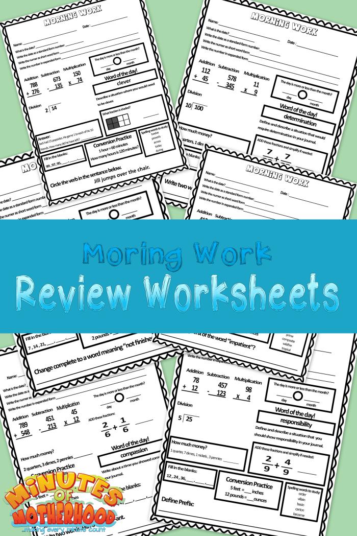Free Printable Morning Work Worksheets 1 Week | Morning work ...
