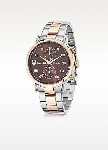 7f7a33eb928 Epoca Brown Dial Two Tone Stainless Steel Men s Watch - Maserati  men   smart