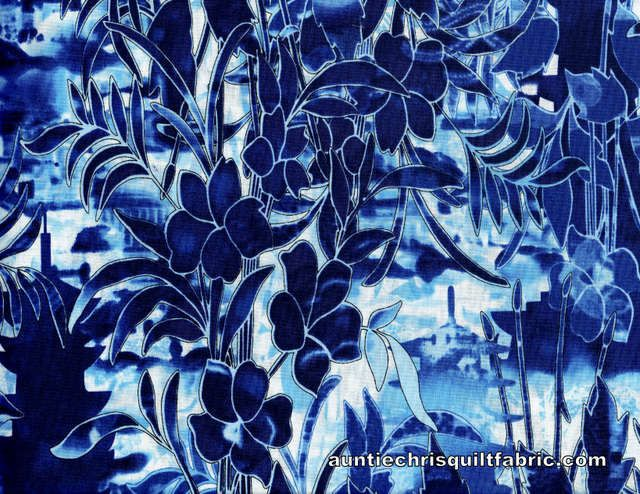 Cotton Quilt Fabric Harmony Blue White Floral Tulip 05516 - product image