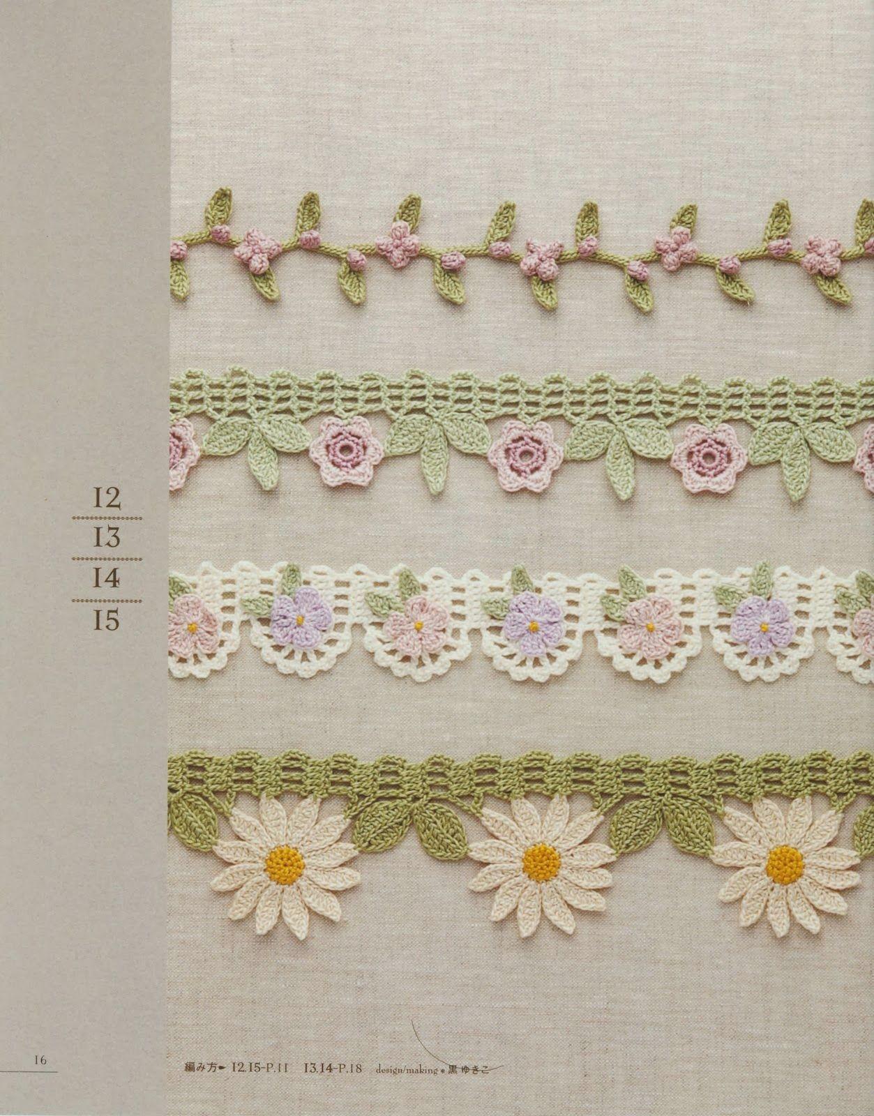 puntillas flores | crochet puntillas | Pinterest | Croché, Ganchillo ...