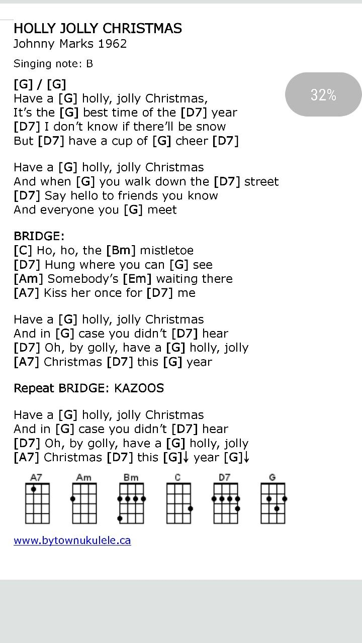 Holly Jolly Christmas Ukulele Chords | Christmas ukulele in 2018 ...
