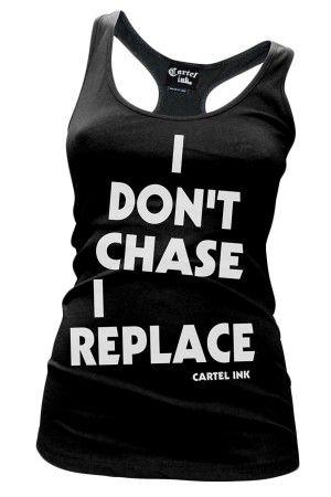 WOMEN'S I DON'T CHASE, I REPLACE RACER BACK TANK TOP - BLACK - #cartelink #alt #altfashion #pinup #rockabilly