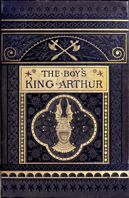Antique Front cover from The boy's King Arthur, edited by Sidney Lanier, after sir Thomas Malory's history, illustrated by Alfred Kappes, New York, 1880.