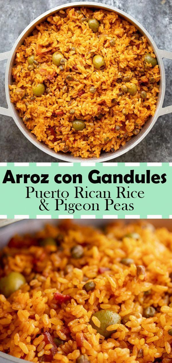 "Arroz con Gandules (Puerto Rican Rice with Pigeon Peas) Recipe - Kitchen De Lujo Arroz con Gandules is a traditional Puerto Rican dish that is served usually around Christmas season or special occasions. One of the main reasons why this is served for special occasions is because it serves ALOT of people. It is referred as ""Puerto Rican Rice"" and includes the Puerto Rican Cuisine seasoning sofrito to give it the unique mouthwatering taste."