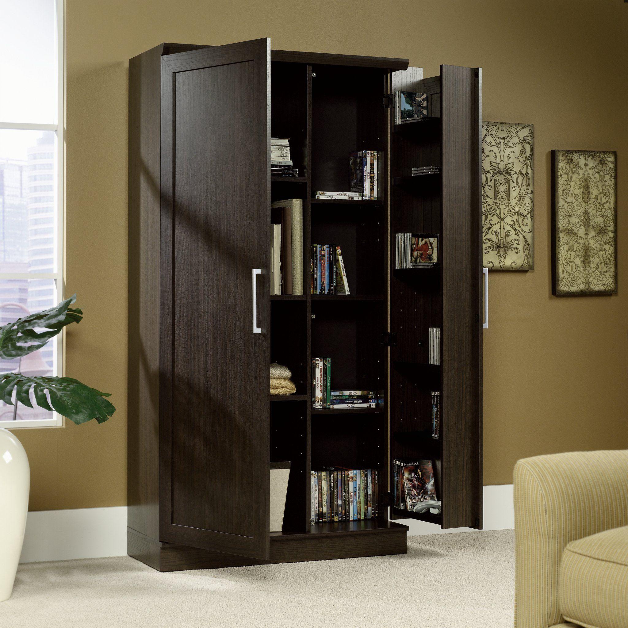 Sauder Double Door Storage Cabinet Large Dakota Oak ...